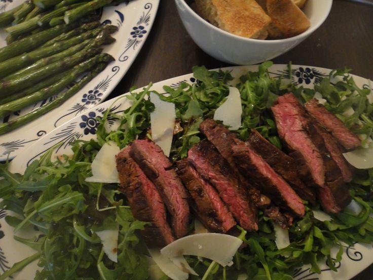 Steak on Arugula with Parmesan  Bistecca Fiorentina