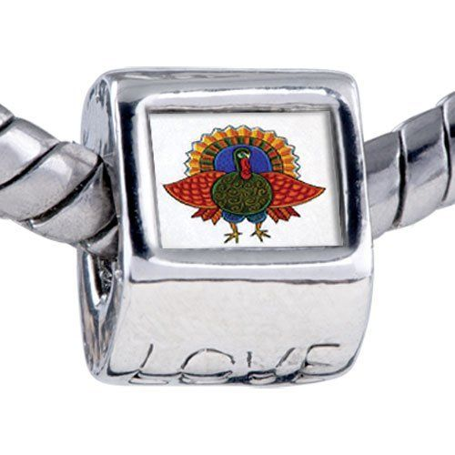 Pugster Folk Art Turkey Beads - Chamilia Bead & Bracelet Compatible Pugster. $11.24. Bracelet sold separately. Fit Pandora, Biagi, and Chamilia Charm Bead Bracelets. Hole size is approximately 4.8 to 5mm. Unthreaded European story bracelet design. It's the photo on the love charm. Save 10% Off!