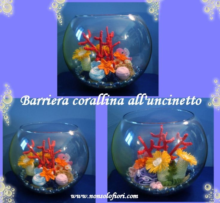il mio acquario di barriera corallina .... all'uncinetto. (diametro 25 x 20 cm di altezza)