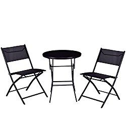 6ca958f5930 Giantex 3PC Bistro Set Folding Round Table And Chair Set Outdoor Furniture  Backyard (Round Table