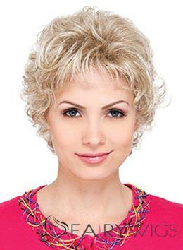 Fabulous Short Wavy Blonde Side Bang Cheap Real Hair Wigs 8 Inch