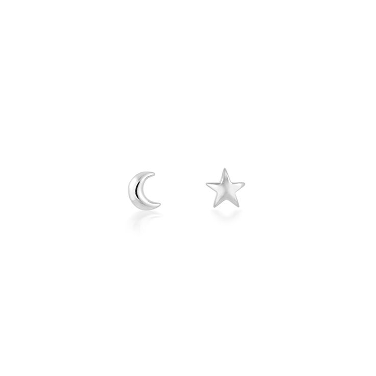 Tiny ear stud with small star and moon - Minimal, subtle and classic - Stack these stunning micro studs to create magic on ears - Perfect for the everyday - CLICK TO SHOP MINIMAL STAR MOON EAR STUDS NOW.