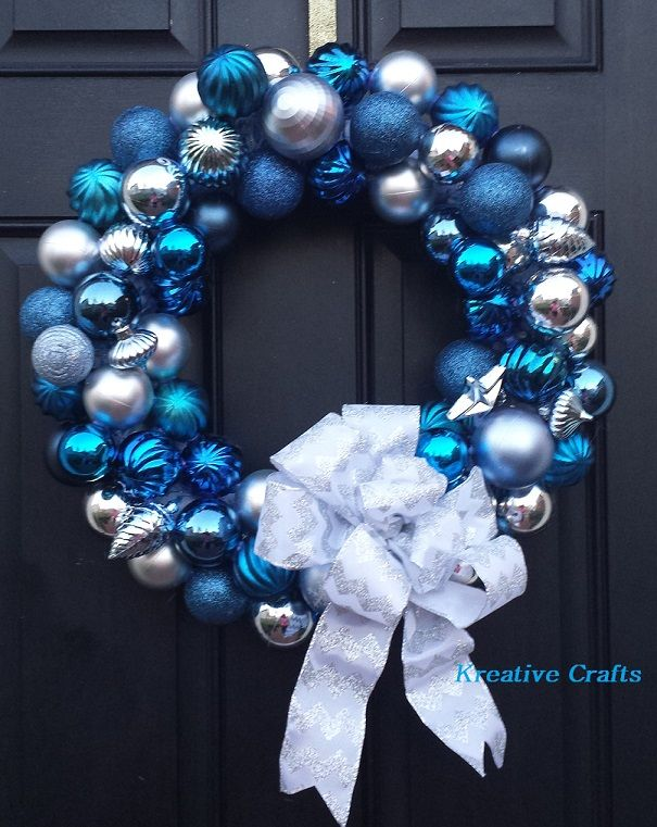 Blue and Silver Christmas bulb wreath. Kreative Crafts ...