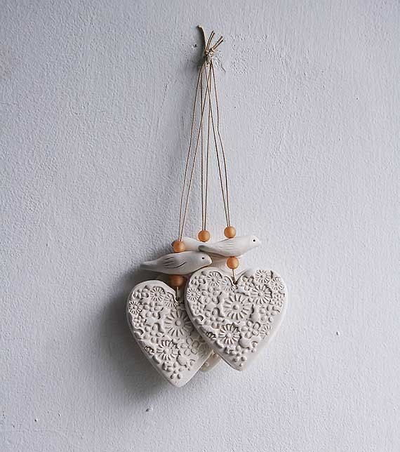 Porcelain heart and bird hangings by jolucksted on Etsy
