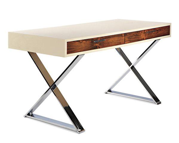 American-home-furniture-X-base-desk-California-designer-Milo-Baughman.    An X-base desk is a modern American home furniture from the 1970s.