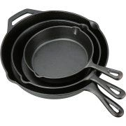 "Buy Ozark Trail 3 Piece Seasoned Oil Cast Iron Skillet Set at Walmart.com~8, 10 & 12"" $20~Out of stock"