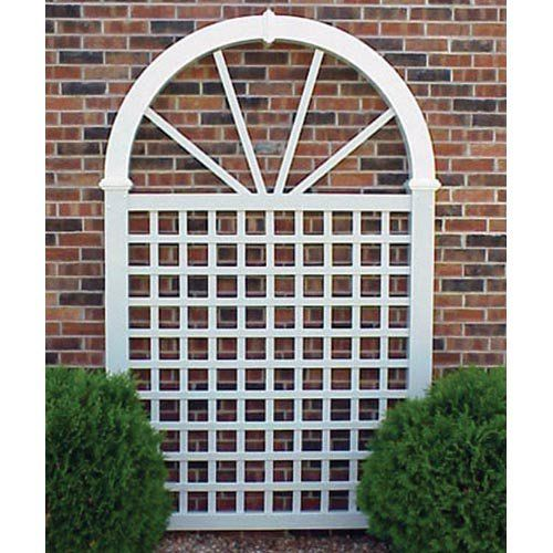 """From hay needle.com: Dura-Trel 7.5-Foot Vinyl Hampton Arch. 57""""wide x 92""""tall. $211. Good weight. Comes with ground assembly."""