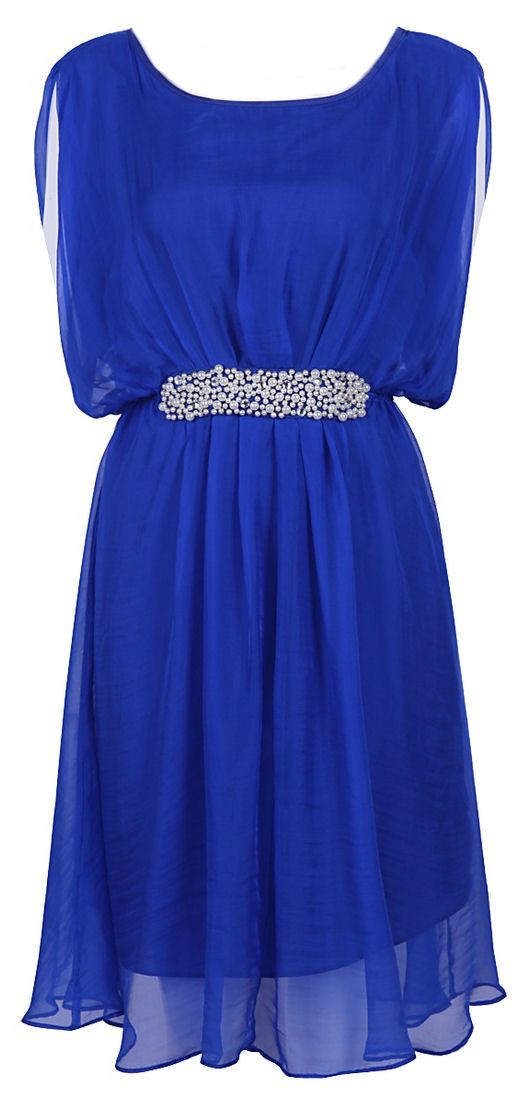 Electric Blue Silk + Pearls Dress ♥ Love!