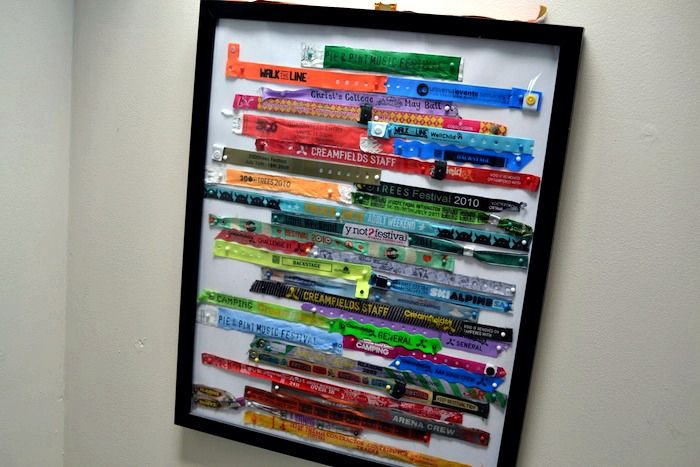 DIY framed festival wristband display.