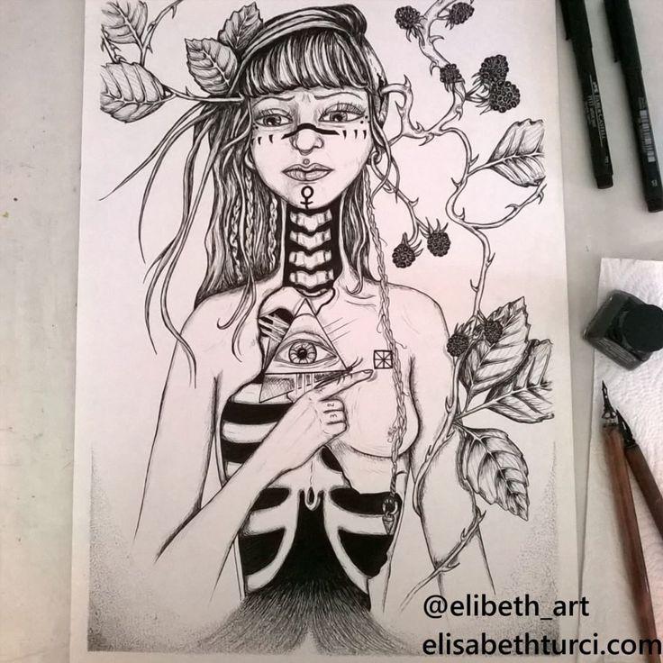 """""""Le Chagrin"""" ink on paper, by Elisabeth Turci  #illustration #ink #art #girl #bones #ribcage #occultart #symbolism #linework #dotwork #blackberries #inkonpaper"""