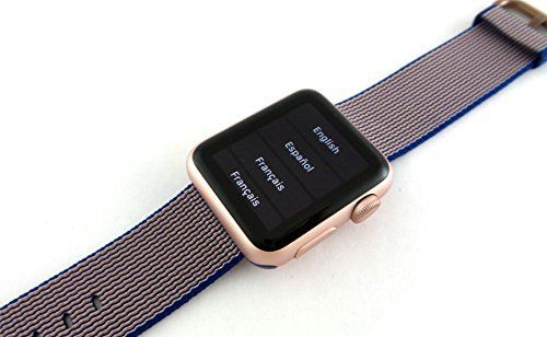 Apple Watch MMF42LL/A Sport 38mm Smartwatch (Rose Gold Aluminum, Royal Blue Woven Nylon Band)   Stay connected in style with the 38mmApple Watch, which comes with an anodized aluminum case and a woven nylon band. Designed for users looking for the ne