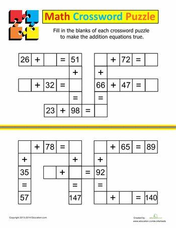 Worksheets: Addition Crossword