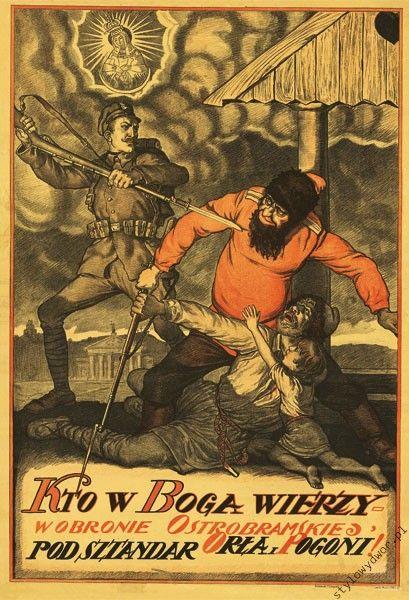 Wojna 1920 plakat Kto w Boga... M.B. Ostrobramska