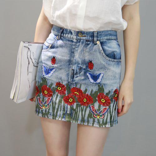 Saia jeans bordada