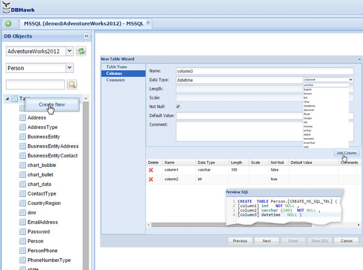 SQL Server Create Table Tutorial with DBHawk Sql server