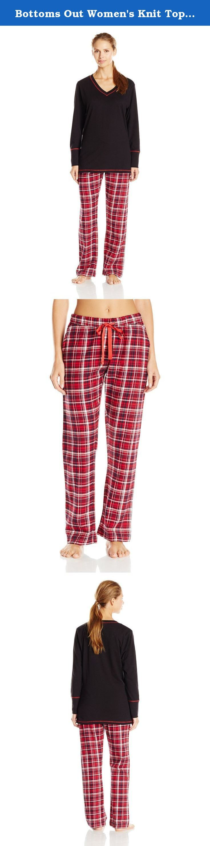 Bottoms Out Women's Knit Top with Flannel Pant Pajama Set, Red/Burgundy, Large. Ladies pajama set with V-neck knit top and plaid flannel pants.