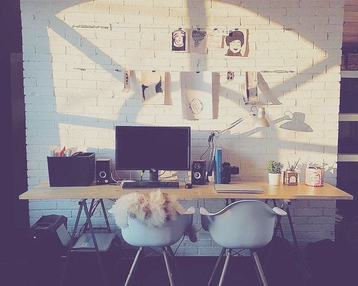 Working space- Designed by David & Grace #Scandinavian #bricks #industrial #design #romania #white #art space #bucharest