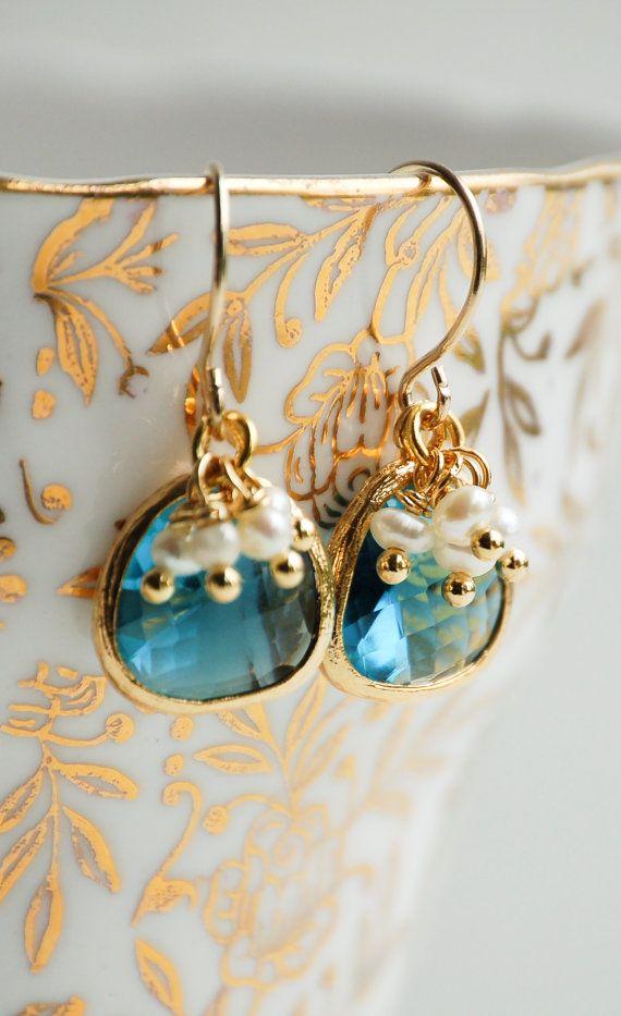 Blue Crystal EARRINGS Pearl Earrings Gold