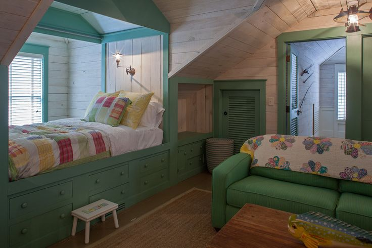 Innovative cute bedspreads in Kids Beach Style with Attic Bedroom next to Built-in Platform Beds alongside Dormer Windows and Built In Beds