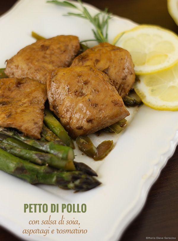 Petto di pollo con salsa di soia asparagi e rosmarino.