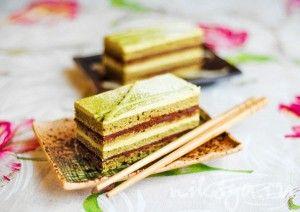 "торт "" Опера"" с чаем матча - белки, миндальная мука, шоколад,"