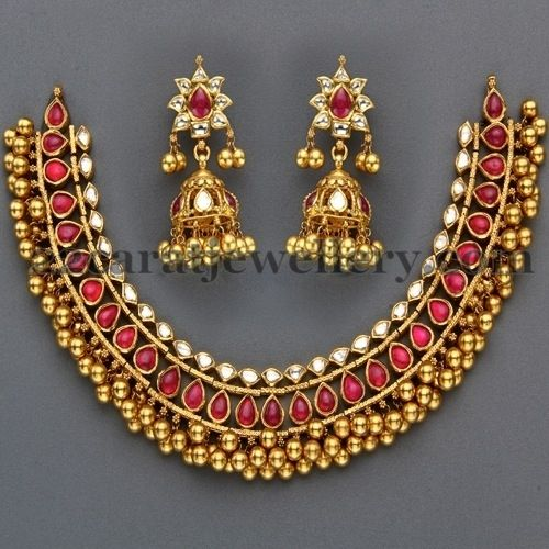 http://www.22caratjewellery.com/2013/04/kundan-tussi-necklace-with-rubies.html