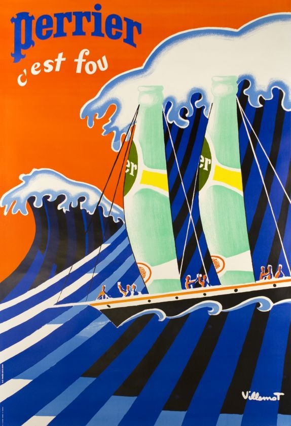 """By Villemot, 1 9 8 1, Perrier, c'est fou (""""Perrier, it's crazy, the sea wave"""")."""