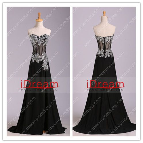 2013 Prom Dresses Mermaid/Trumpet Black Sweetheart Chiffon With Rhinestone - See more at:idreampromdress.com