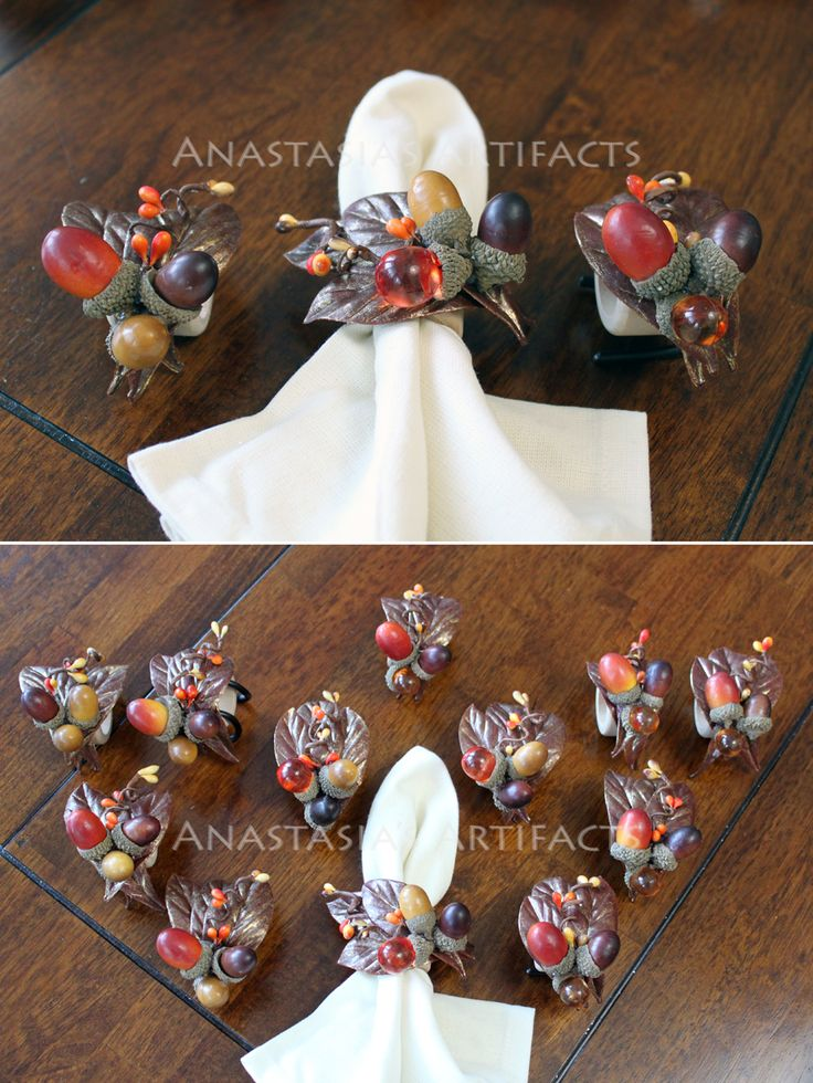 CUSTOM ORDER Jeweled Acorn Napkin Rings