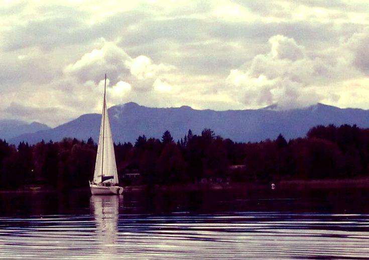 sailing on a bavarian lake. starnberger see, munich, germany.
