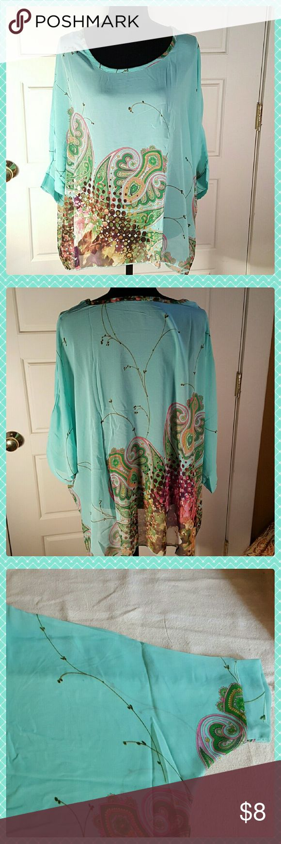 Chiffon Batwing Top PLUS SIZE EUC Pretty chiffon batwing top with teal, green and brown colors. Tag says XL but fits upto a 2X. Is see through so you will need to wear a cami underneath. Soft and flowy. Sleeves come to about middle of forearm. Measurements taken laying flat.  Front length: 26 in. Back length: 28 in. Armpit to armpit: 34 in. Sleeve cuff width: 6 in. Tops