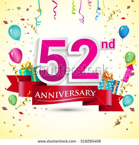 52nd Years Anniversary Celebration Design, with gift box and balloons, red ribbon, Colorful Vector template elements for your birthday party.