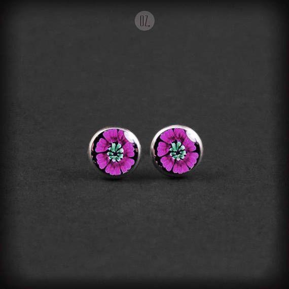 Studs Raspberry Flowers Mini handmade folk jewelry from