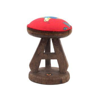 Ardmore Ceramics Batonka Stools: Batonka Stool in Cardinal Bird Crossing