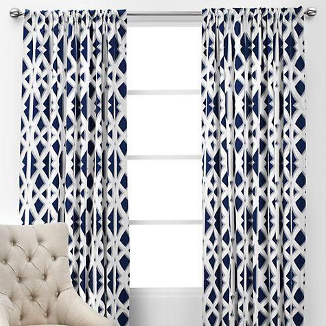 Attractive Window Treatments   Elton Panels | Navy And White Geometric Drapes, Navy  And White Geometric