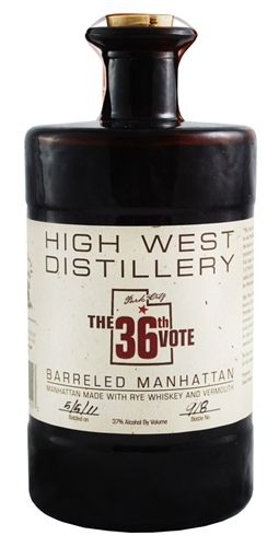 "High West Distillery ""The 36th Vote"" Barreled Manhattan - A barrel aged pre-mixed cocktail!  They did all the work for you.  You just have to drink it."