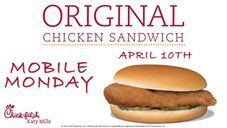 FREE ORIGINAL CHICKEN SANDWICH @ Chick-fil-A Katy Mills...  April 10th is Mobile Monday from 10:30am - 10:00pm  FREE Original Chicken Sandwich when you place a Mobile Order on your Chick-fil-A One App (http://cfakm.co/one).  SHARE & LIKE with everyone :)  Offer ONLY valid at Chick-fil-A Katy Mills while supplies last.  #originalchickensandwich #cfaone #chickfilakatymills #chickfilakaty #cfakatymills #cfakaty #chickfila #katytx