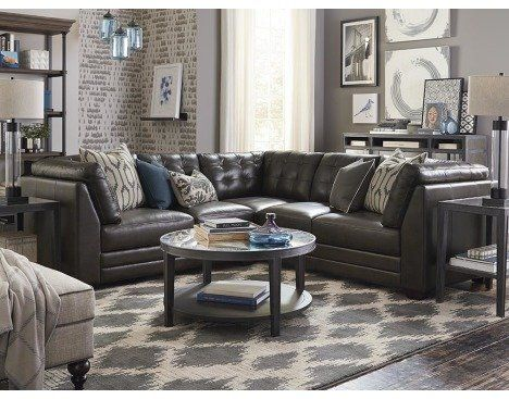 Affinity L Shaped Leather Sectional By Bassett Furniture Features Biscuit  Tufting For Comfortable Seating.