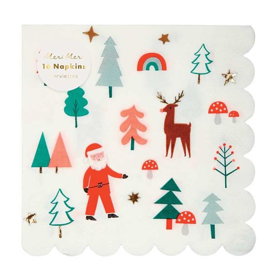 These Party Napkins Are Perfect For A Tree Trimming Party Christmas Eve Supper Or Holiday Co Christmas Icons Holiday Party Napkins Christmas Napkins