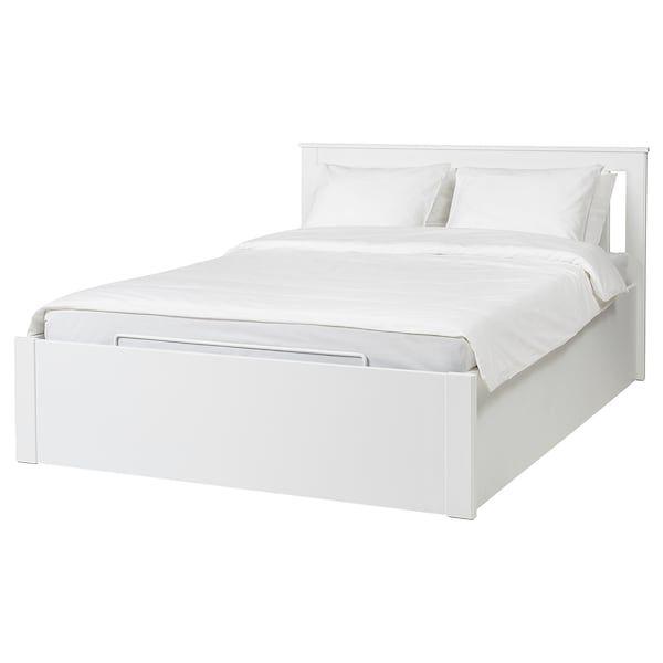 Songesand Cadre Lit Coffre Blanc Ikea Lit Coffre Cadre De Lit Lit Rangement