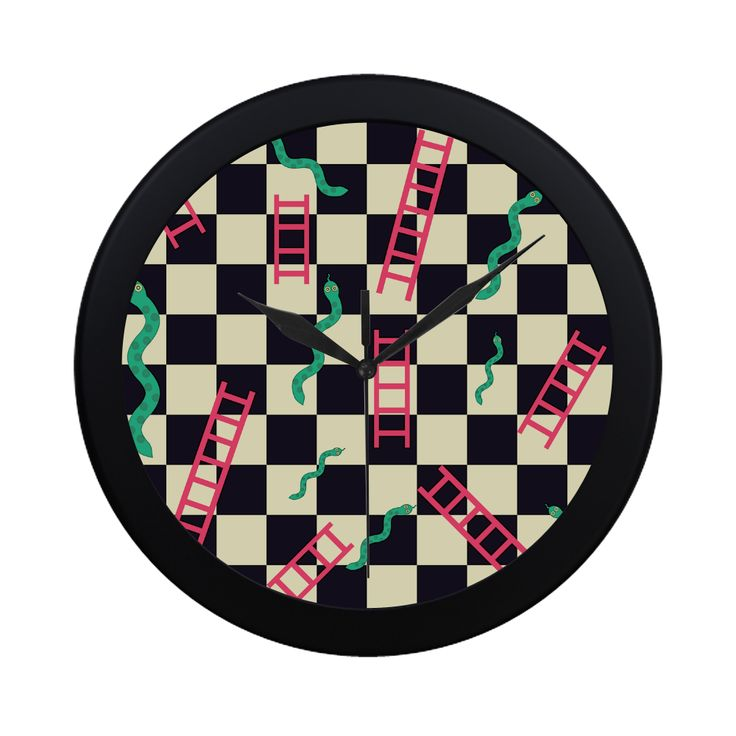 Snakes and Ladders Game Circular Plastic Wall clock
