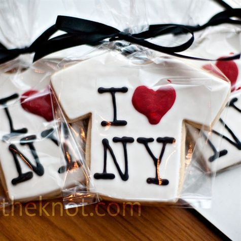 Themed Cookie Favors    New York-themed cookies (t-shirts, taxi cabs and Broadway street signs) were the perfect touch of local favor for the Brooklyn wedding overlooking the Manhattan skyline.