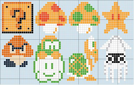 Super Mario Bros Mini Cross Stitch Patterns by johloh, via Flickr