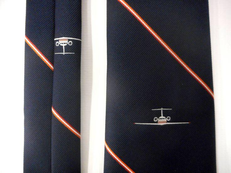 Vintage Airline Jet Pilot Necktie Signed Bartolini, Dark Blue, Red White Stripes