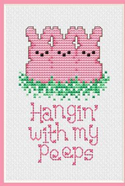 For Patty---Hangin With My Peeps - Cross Stitch Pattern