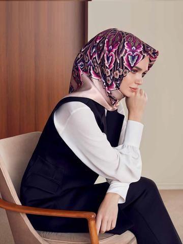 Armine Cherry Silk Hijab - Beautiful Hijab Styles