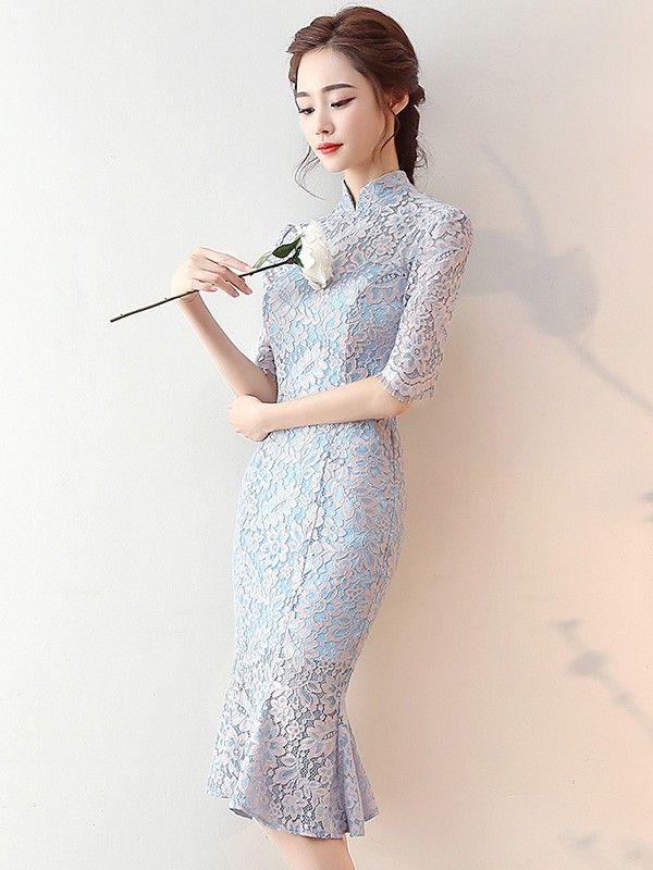 Blue Lace Pep Hem Qipao / Cheongsam Dress with Half Sleeve