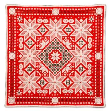 "NEWEST!  Oh, My Stars is another wonderful design by Carol Slieter. This complete kit includes an 18"" x 18"" square of 22-count Red Hardanger fabric by Zweigart, DMC pearl cotton in sizes"