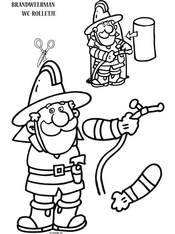 Kleurplaat Brandweerman knutselen - Kleurplaten.nl
