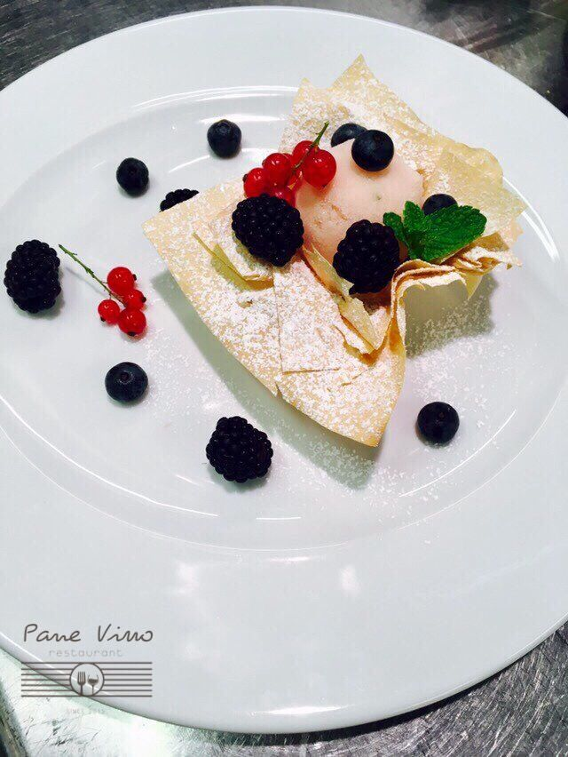 Mascarpone mousse | peach granite | summer fruits